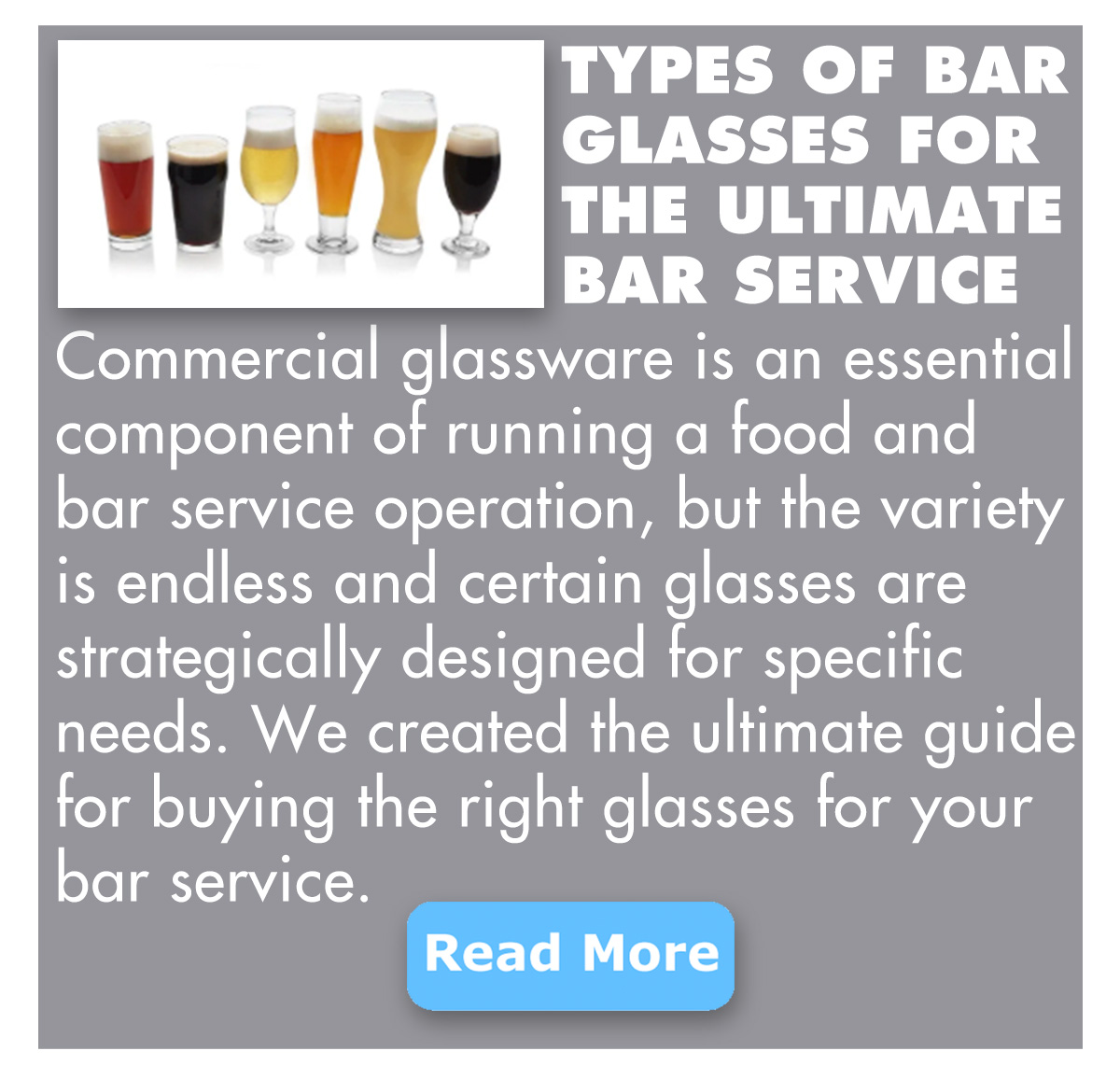 Be in the know of what types of bar glasses for ULTIMATE bar service