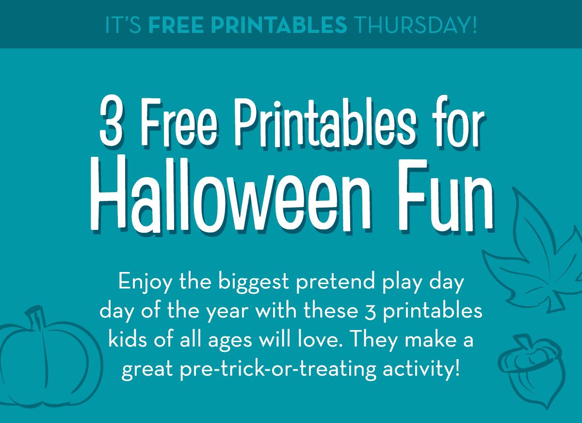 It's Free Printables Thursday! 3 Free Printables for Halloween Fun