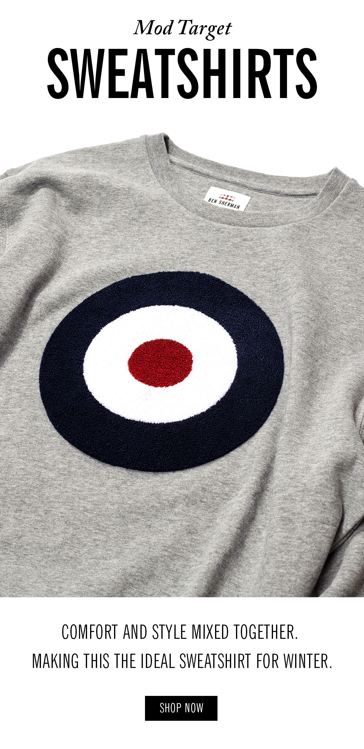 Mod Target Sweatshirts | Photo of a grey sweatshirt with a red/white/blue target print | Comfort and style mixed together. Making this the ideal sweatshirt for winter. | Shop Now