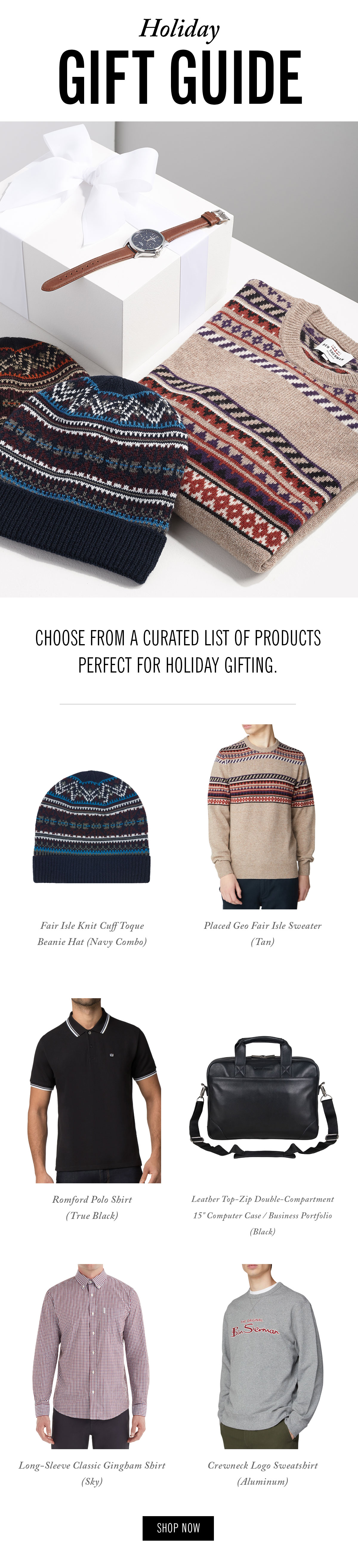 Holiday gift guide | Photo of a watch, a sweater, and two knit hats | Choose from a curated list of products perfect for holiday gifting. | Shop Now