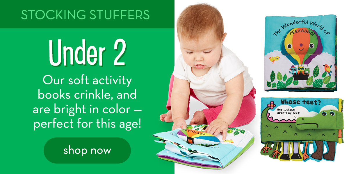 Stocking Stuffers: Under 2 - Our soft activity books crinkle, and are bright in color - perfect for this age! Shop now.