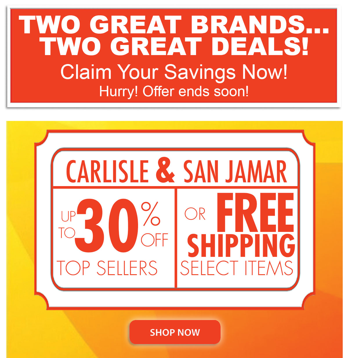 Two Great Brands (San Jamar and Carlisel) -- Two Great Deals (up to 30% off or Free Shipping)