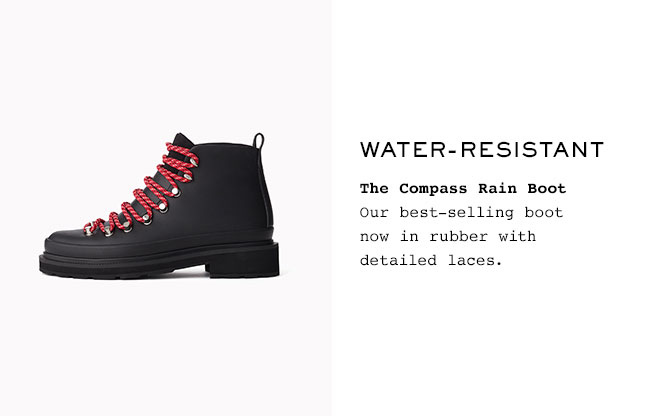 Water-resistant   The Compass Rain Boot  Our best-selling boot now in rubber with detailed laces.