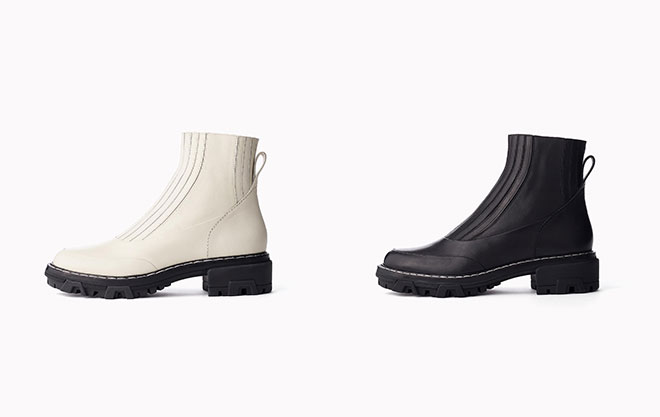 The Shawn Chelsea Boot in Black and Antique White.
