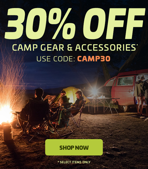 30% Off Camp Gear & Accessories