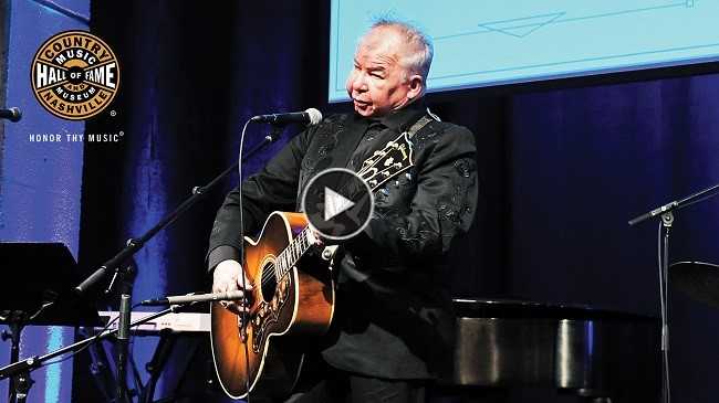 John Prine playing Cowboy Jack Clement's Guitar during the donation ceremony on November 19