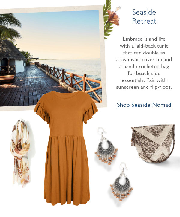 Embrace island life with a laid-back tunic that can double as a swimsuit cover-up and a hand-crocheted bag for beach-side essentials. Pair with sunscreen and flip-flops. Shop Seaside Nomad.