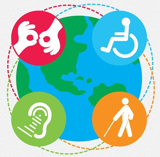a drawing of the earth with 4 disability access symbols sign language wheelchair white cane assistive listening