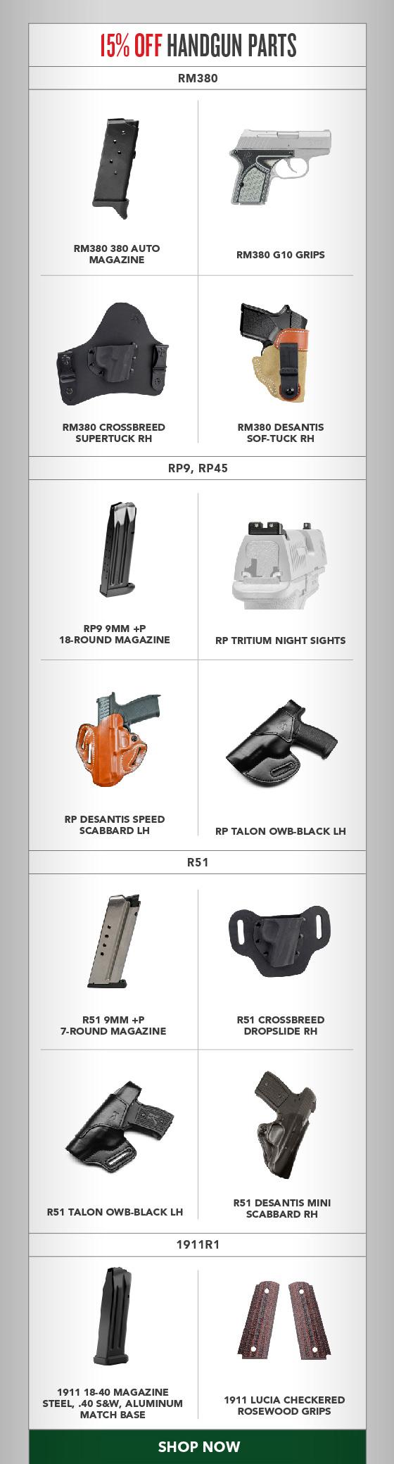 15% OFF Handgun Parts