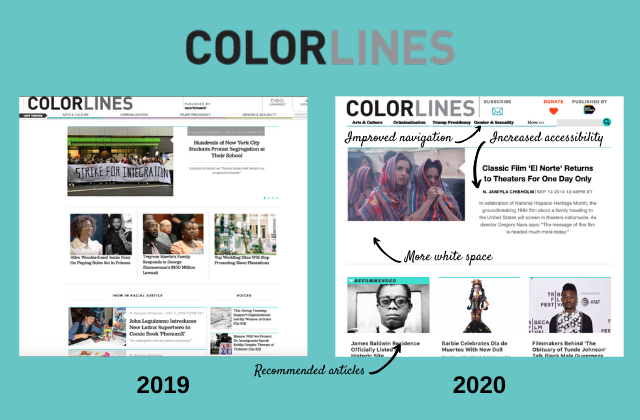 Screenshot of Colorlines site before and after with callouts for improved navigation, increased accessibility, more white space, and recommended articles.