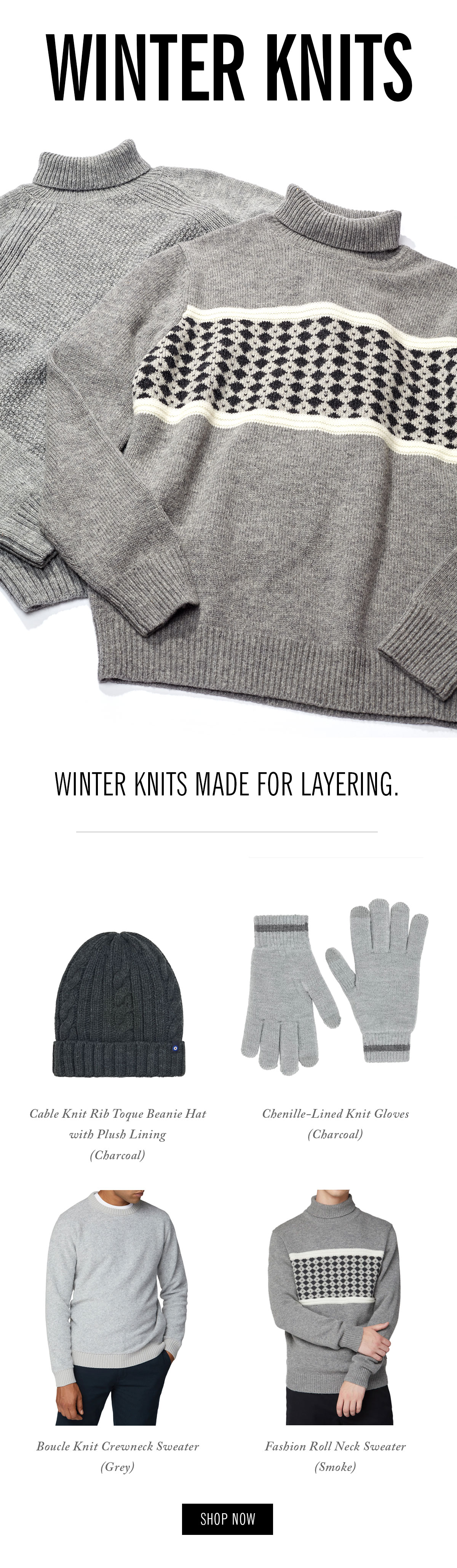 Winter knits: hats, gloves, sweaters