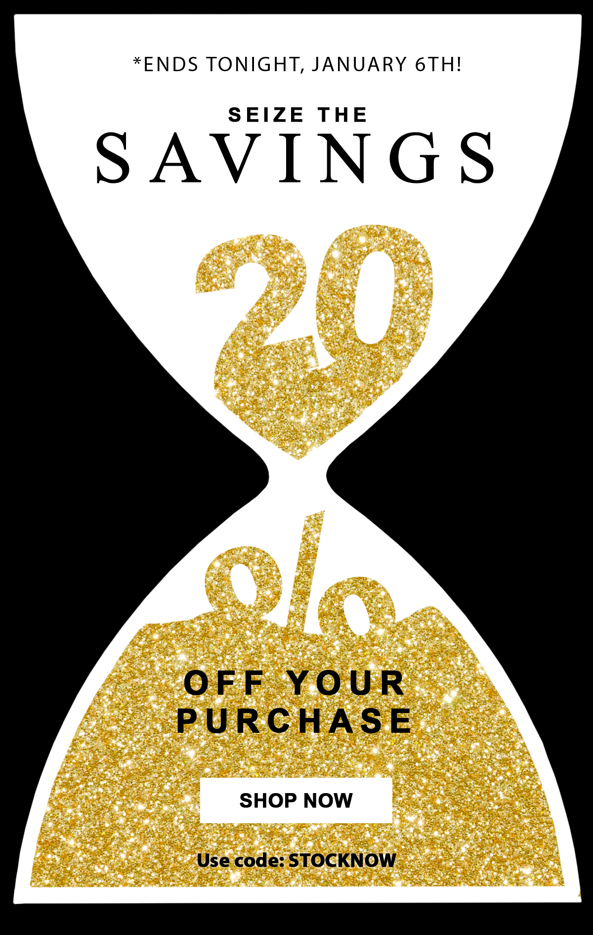 *Ends tonight, January 6th!  Seize the Savings  20%  Off Your Purchase  Shop Now   Use code: STOCKNOW