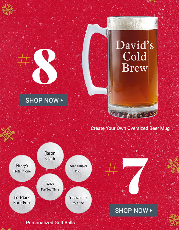 #8 Create Your Own Oversized Beer Mug. #7 Personalized Golf Balls.