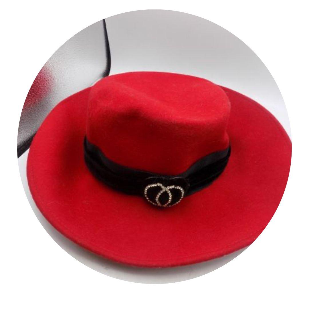 Memer Red Embellished Wool Hat