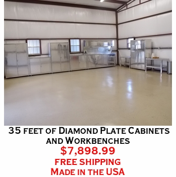35 feet of Diamond Plate Cabinets and Workbenches