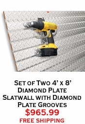 Set of Two 4' x 8' Diamond Plate Slatwall with Diamond Plate Grooves