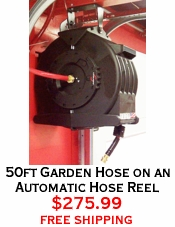 50ft Garden Hose on an Automatic Hose Reel