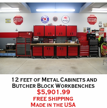 12 feet of Metal Cabinets and Butcher Block Workbenches