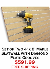 Set of Two 4' x 8' Maple Slatwall with Diamond Plate Grooves
