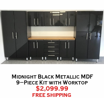 Midnight Black Metallic MDF 9-Piece Kit with Worktop