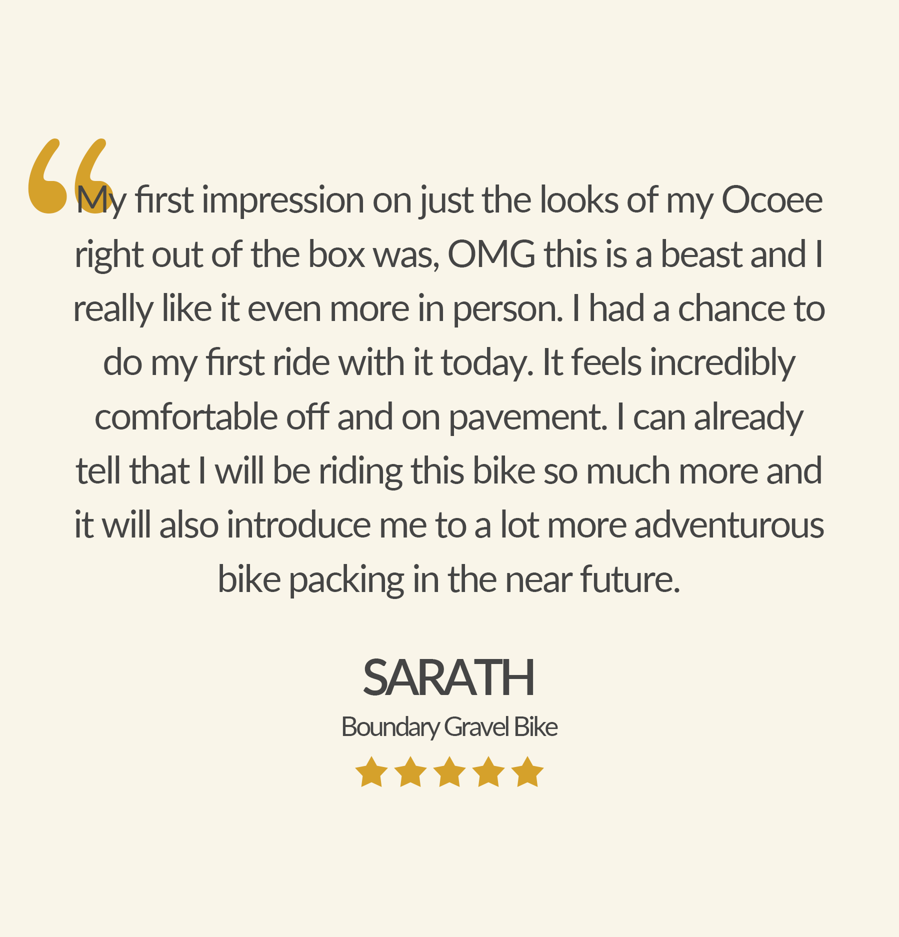 Check out what customers have said about their Ocoee bikes!