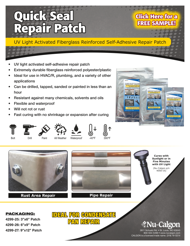 Click here for a free sample of Quick Seal Repair Patch!