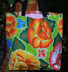 Mexican Oilcloth Market Bag � Frida on Lime