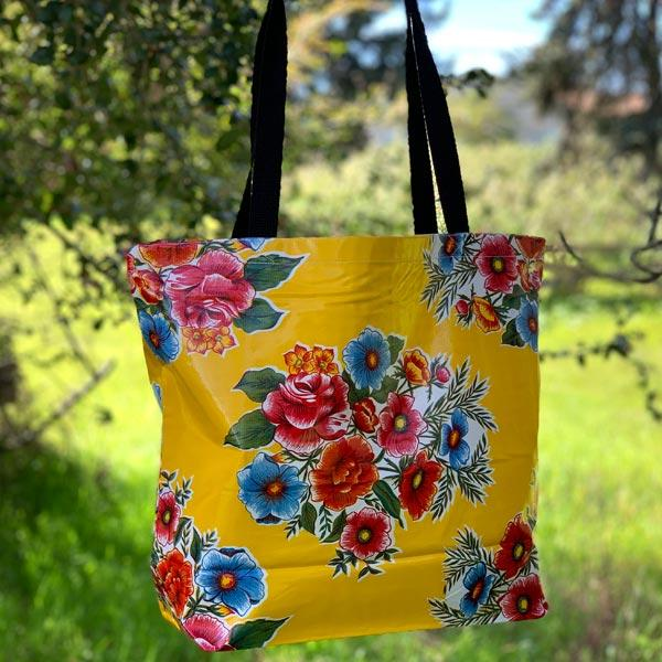 Mexican Oilcloth Market Bag � Savannah on Yellow