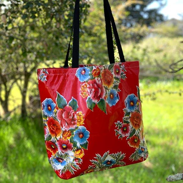 Mexican Oilcloth Market Bag � Savannah on Red