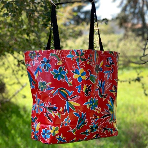 Mexican Oilcloth Market Bag � Animales on Red