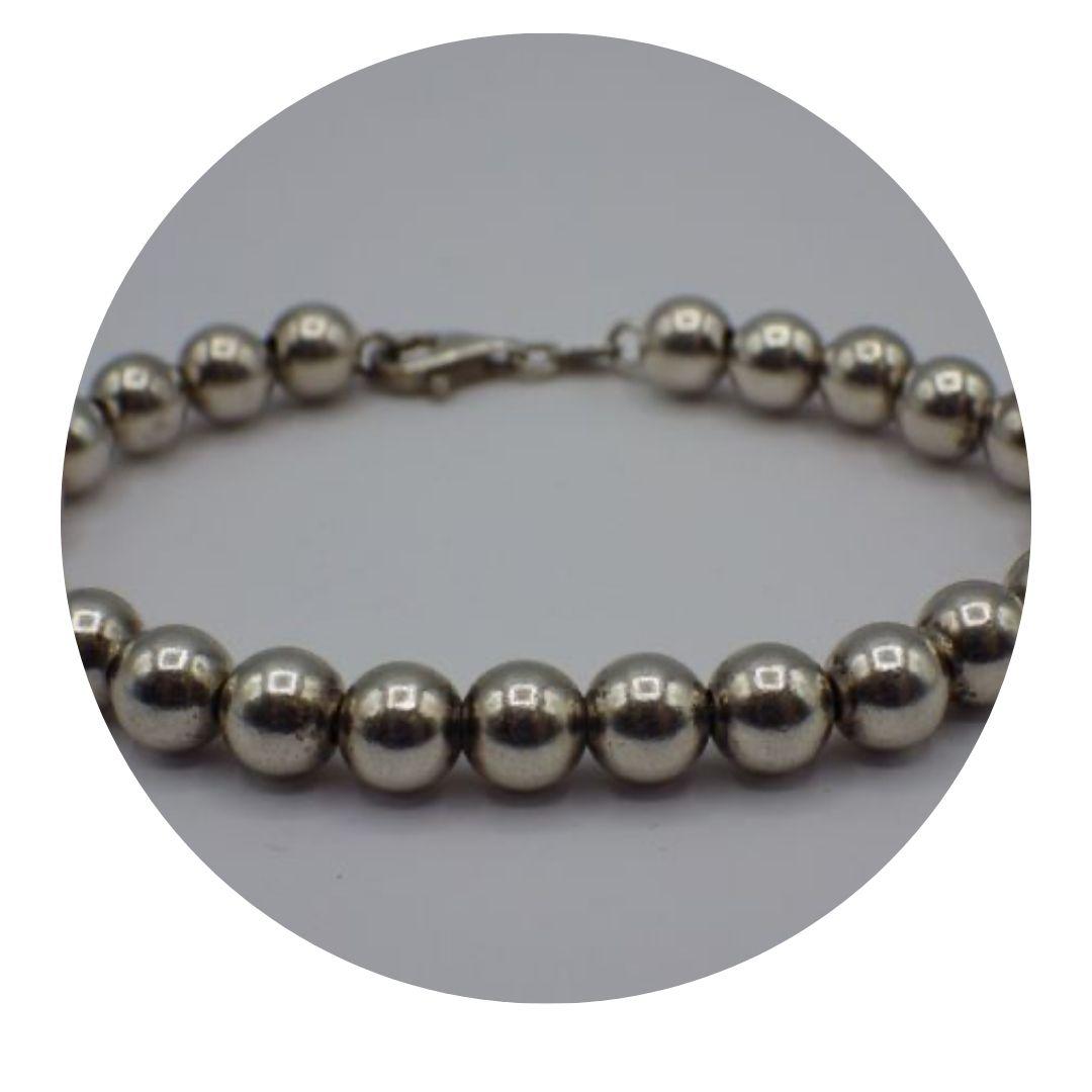 "8"" 925 Italy Sterling Silver 8mm Beads Bracelet"