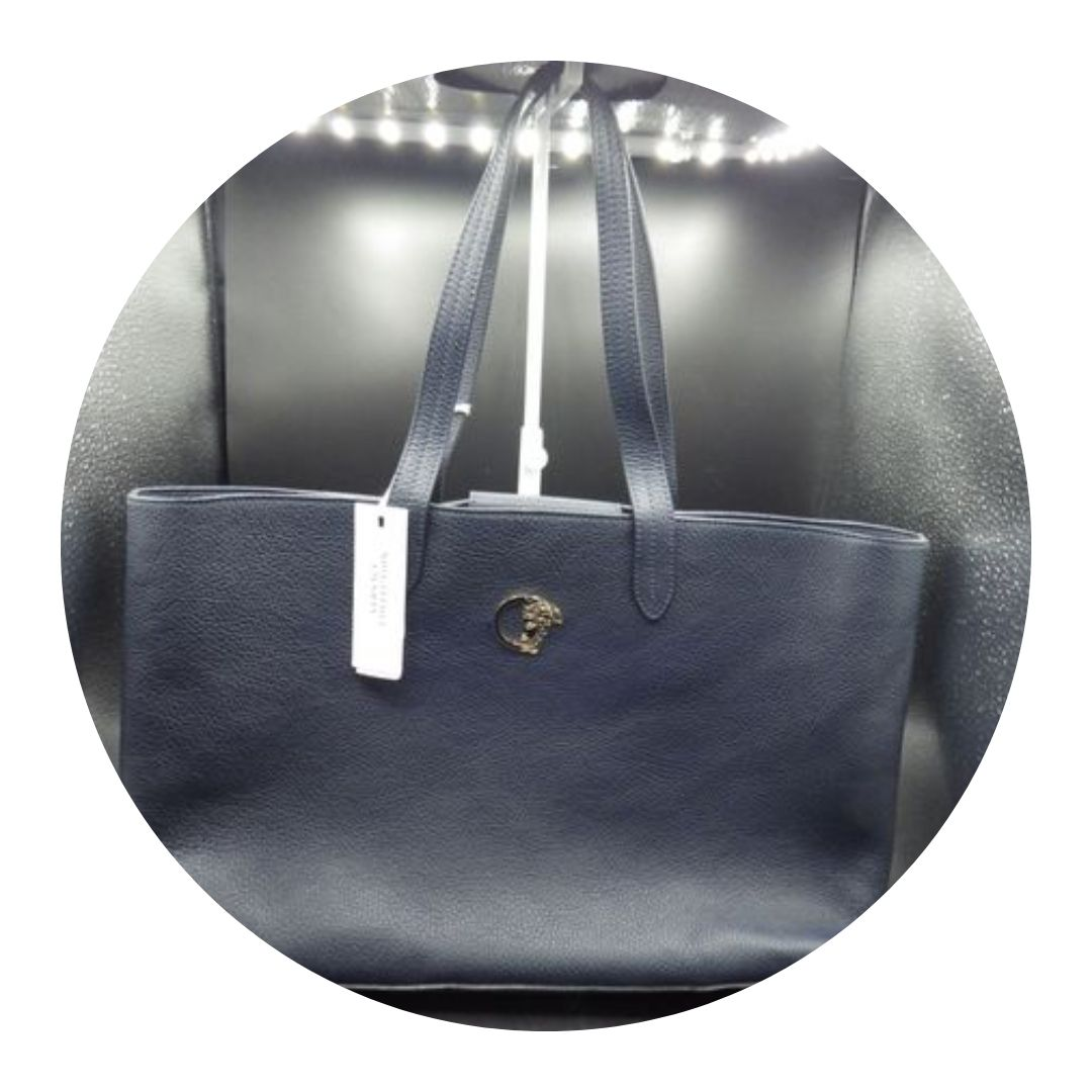 Versace Collection Tote Purse Navy Blue