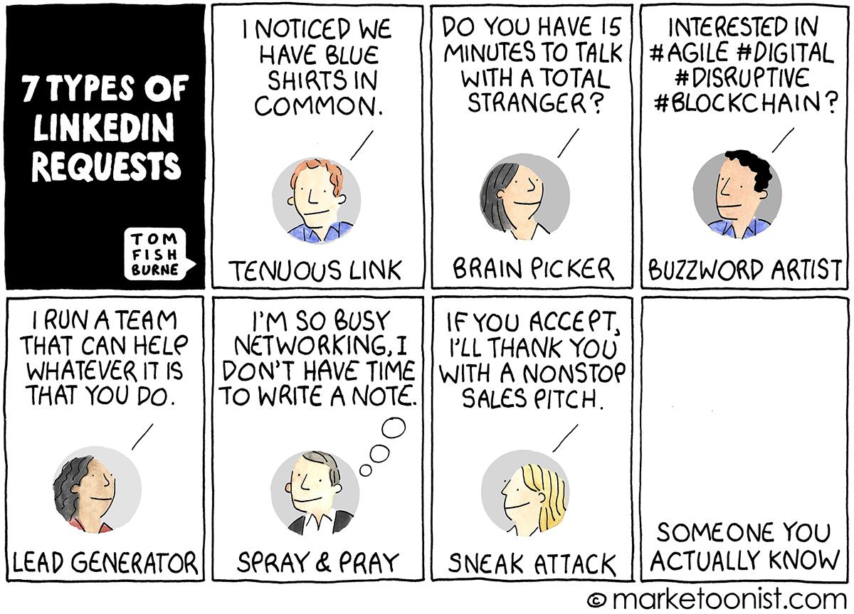 7 Types of LinkedIn Requests cartoon