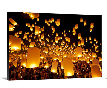 Hot air fire lanterns are going to be released into sky.