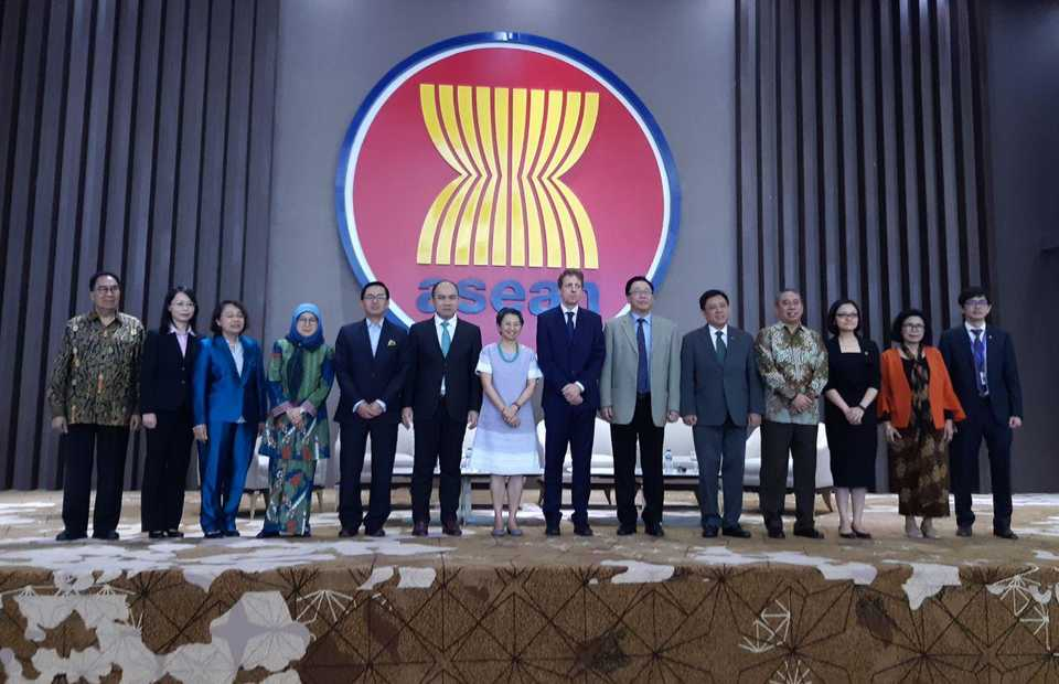 The launch of the Asean Integration Report 2019 at the Asean Secretariat building in Jakarta on Tuesday. (JG Photo/Jayanty Nada Shofa)