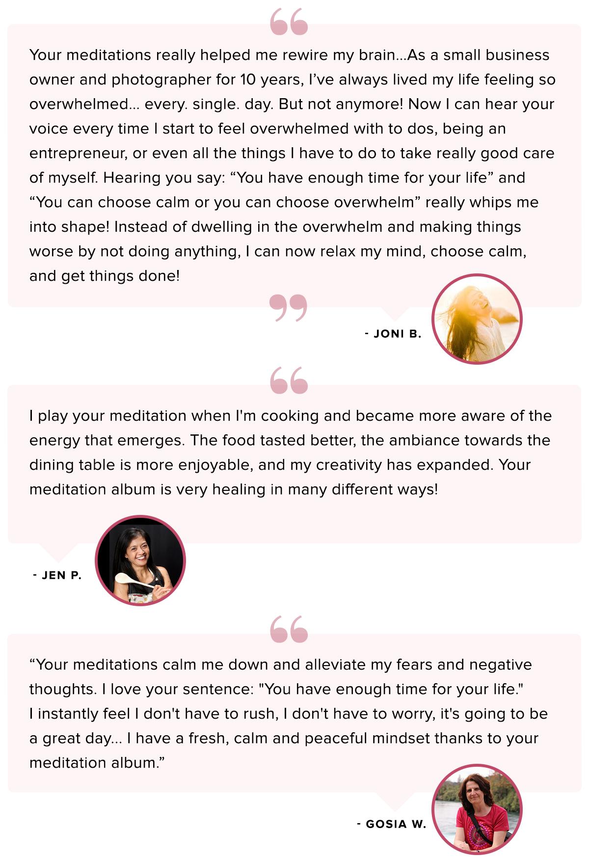 Meditation Testimonials