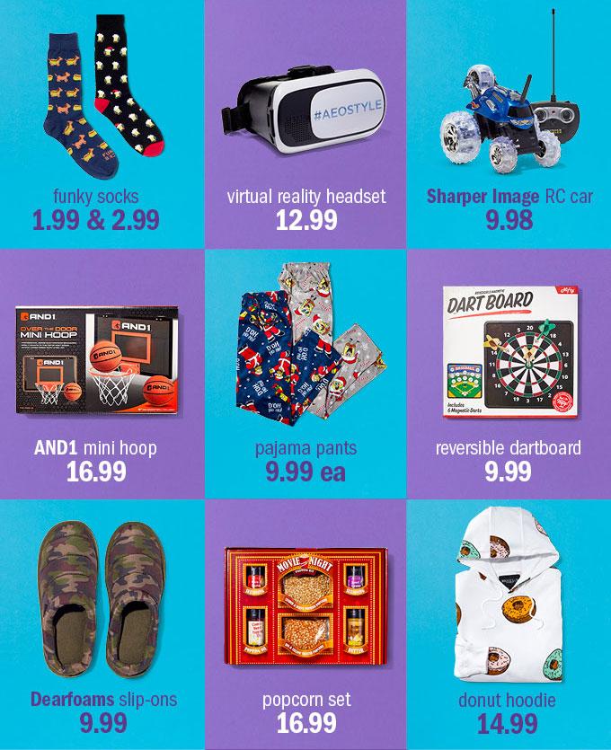 Funky socks 1.99 & 2.99 | virtual reality headset 12.99