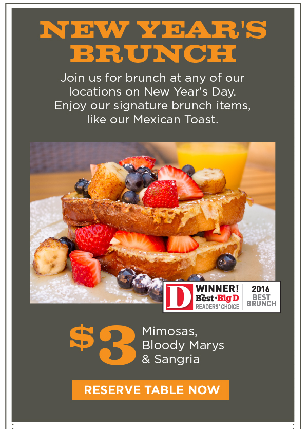 Reserve Your Table For New Year's Day Brunch