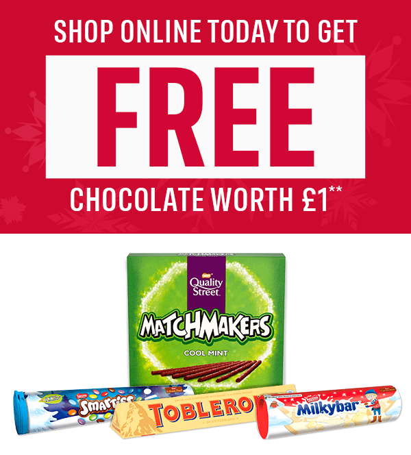 SHOP ONLINE TODAY TO GET FREE CHOCOLATE WORTH �* Quality Street Matchmakers Smarties Tube Toblerone Milkybar Tube