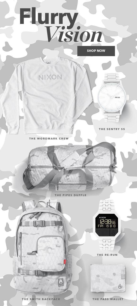 Shop the Nixon Snow Camo Collection
