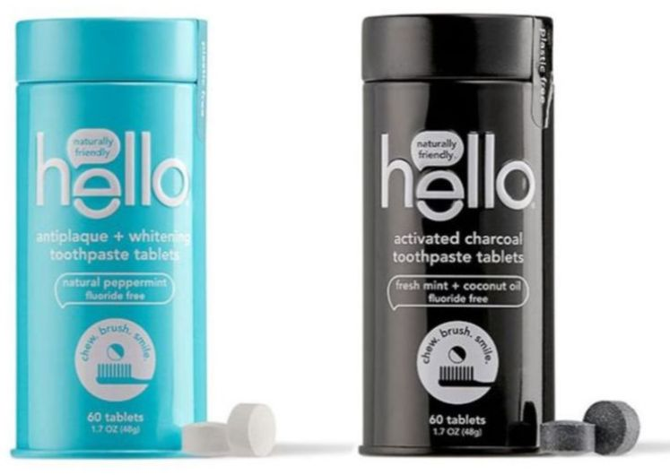 new hello toothpaste tablets, available in antiplaque + whitening & activated charcoal
