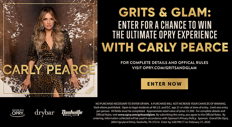 Grits & Glam: The Ultimate Opry Experience with Carly Pearce