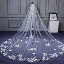 One-tier Cut Edge Cathedral Bridal Veils (006133841)
