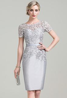 Sheath/Column Scoop Neck Knee-Length Taffeta Lace Mother of the Bride Dress (008085295)