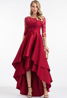 A-Line Scoop Neck Asymmetrical Satin Evening Dress With Sequins (017198674)