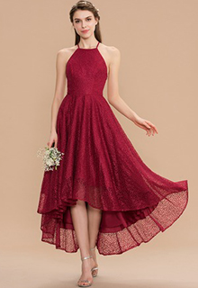 A-Line Scoop Neck Asymmetrical Lace Bridesmaid Dress With Bow(s) (007165869)