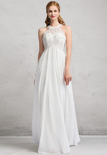 Empire Scoop Neck Floor-Length Chiffon Wedding Dress With Beading (002081899)