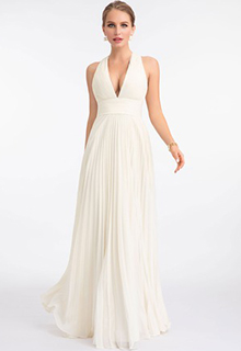 A-Line V-neck Floor-Length Chiffon Evening Dress With Pleated (017198670)