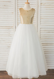 A-Line Floor-length Flower Girl Dress - Tulle/Lace/Sequined Sleeveless Scoop Neck With V Back (010183537)