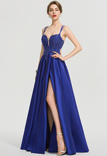 A-Line V-neck Floor-Length Satin Prom Dresses With Sequins Split Front (018192364)